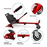 E T Hoverboard Kart Seat Attachment Holder Accessory for 6.5'' 8'' 10'' Two Wheel Self Balancing Scooter Cart, Adjustable Hoverkart Hoverboard Accessories (Self Balance Board Not Included) (Red)