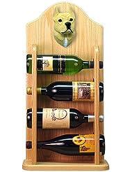 Michael Park FAWN American Staffordshire Terrier Wine Rack 4 Bottle Light Oak