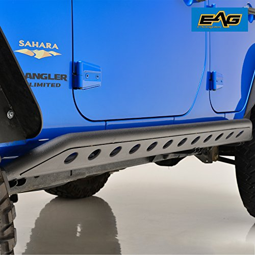 - EAG Tubular Side Armor Rocker Guard Rock Sliders for 07-18 Jeep Wrangler JK 4 Door