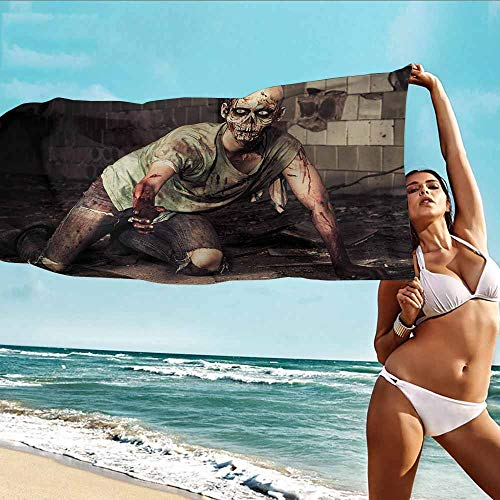 Antonia Reed Soft Bath Towel Zombie,Halloween Scary Dead Man in The Old Building with Bloody Head Nightmare Theme,Grey Mint Peach,Suitable for Home,Travel,Swimming Use 32