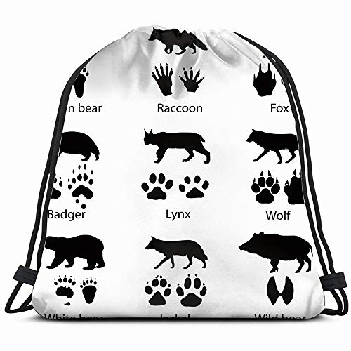 - Animals Tracks Wildlife Fox Illustrations Clip Art Drawstring Backpack Bag For Kids Boys Girls Teens Birthday, Gift String Bag Gym Cinch Sack For School And Party