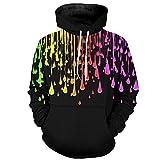 Rankei Fashion Hoodie Sweatshirts 3D Color Raindrop Print Unisex Hoodie,XXXX-Large,PhotoColor