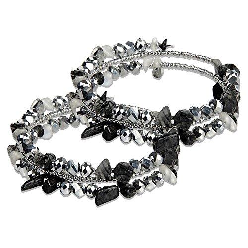 (2 Packs Crystal Nature Stone Bracelets, Mothers Day Gifts, Valentine's Day, Womens Stretch Bracelet Chips, Zirconia Tennis Bracelets Multi Strands Elegance Romance Flexible Wristband Bangle )