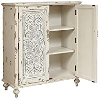 Pulaski P017017 Shabby Chic Accent Chest with Fleur De Leis, White