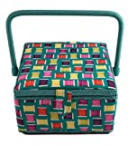 Medium Square Sewing Basket Box with Tray 9x9x5 with Sewing Notions Included (Medium Square 9x9x5, Thread with Notions)
