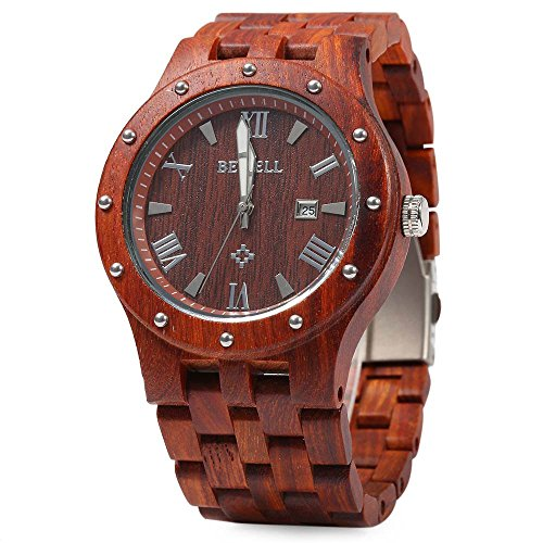 Bewell Men Wooden Quartz Watch Round Dial Analog Wristwatch-RED SANDALWOOD
