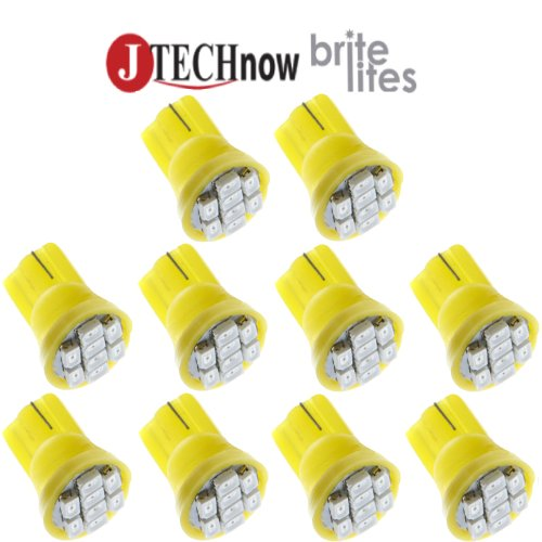 Jtech 10x T10 8-SMD Yellow LED Car Lights Bulb Interior Reading, Dome, Map, Cargo Trunk Area, Door Courtesy, Instrument Cluster, License Light W5W, 147, 152, 158,159, 161, 168, 184, 192, 193, 194 2825