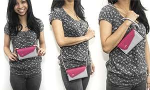 Universal Women's Wallet Wristlet Shoulder Bag Compatible with LG Xenon GR500 Phone Case - GREY & PINK [Link Series]