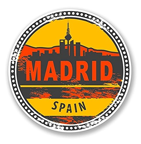 (3 Pack - Madrid Spain Vinyl Sticker Decal - Sticker Graphic - Construction Toolbox, Hardhat, Lunchbox, Helmet, Mechanic, Luggage)