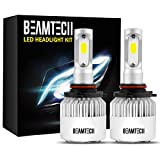 Automotive : BEAMTECH 9005 LED Headlight Bulbs, 6500K 8000 Lumens Extremely Super Bright HB3 COB LED Chips Conversion Kit,Xenon White