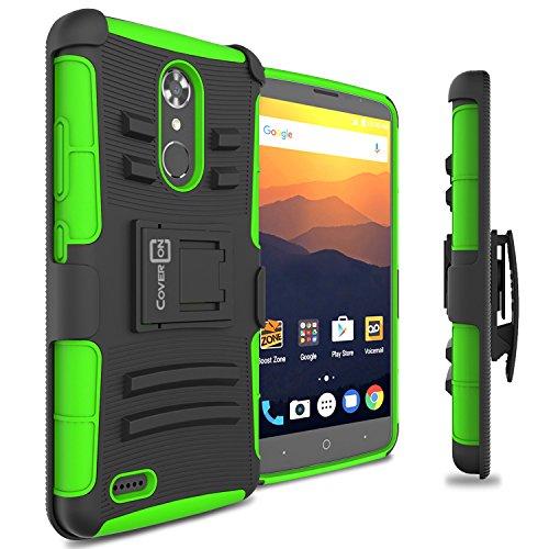ase, CoverON [Explorer Series] Holster Hybrid Armor Belt Clip Hard Phone Cover For ZTE Max XL Holster Case - Green ()