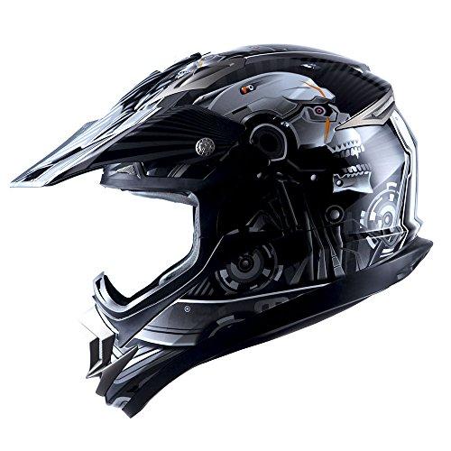 Adult Motocross Helmet Off Road MX BMX ATV Dirt Bike Mechanic Skull Black ()