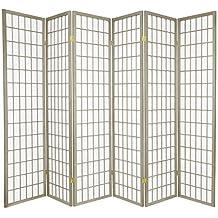 Oriental Furniture 6-Feet Window Pane Japanese Shoji Folding Privacy Screen Room Divider, 6 Panel Grey by Oriental Furniture