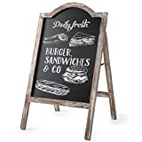 MyGift Large Rustic Torched Wood A-Frame Sidewalk Chalkboard Sign