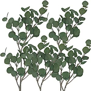 """7,700Mile from Asian Fortune Artificial 5 Pcs Silver Dollar Eucalyptus - 25.6"""" Tall - Wreath - Flexible Faux Greenery Garland - Fake Stem Wire Plastic Spray Branches Leaves - Decor for Room, Table 15"""