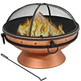 Sunnydaze Large Copper Fire Pit Bowl, Outdoor Round Wood Burning Patio Firebowl with Portable Handles and Spark Screen, 30 Inch Review