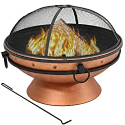 Firepits Sunnydaze Large Copper Finish Outdoor Fire Pit Bowl – Round Wood Burning Patio Firebowl with Portable Handles and Spark… firepits
