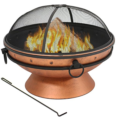 Sunnydaze Large Copper Finish Fire Pit Bowl, Outdoor Round Wood Burning Patio Firebowl with Portable Handles and Spark Screen, 30 Inch