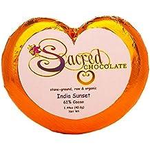 Sacred Chocolate INDIA SUNSET Maple Sweetened, Stone-Ground, Organic Vegan RAW Chocolate 61% Cacao 1.44oz Bar (12 Pack)