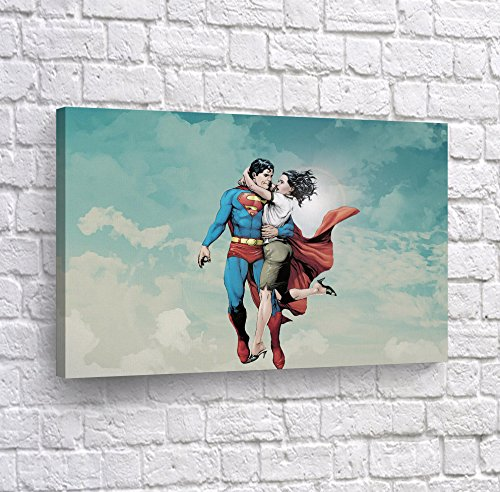 Superman Rescues his Girlfriend Lois Lane Wall Art CANVAS PRINT Flying Up Comics Super Hero Home Decor Decoration Stretched and Ready to Hang -%100 Hanmade in the USA - 19x28 -