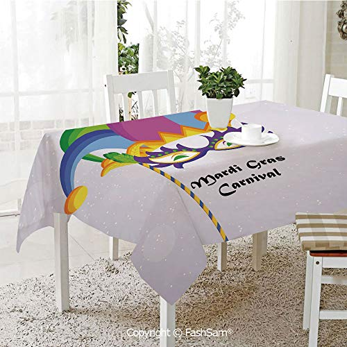 AmaUncle 3D Print Table Cloths Cover Mardi Gras Carnival Inscription with Traditional Party Icons Clown Costume Hat Decorative Table Protectors for Family Dinners (W55 xL72)]()