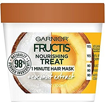Garnier Fructis Nourishing 1 Minute Hair Mask, Coconut, 3.4 fl. oz. (Pack of 2)