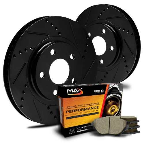 Max KT018282 [ELITE SERIES] Rear Performance Slotted & Cross Drilled Rotors and Ceramic Pads Combo Brake Kit