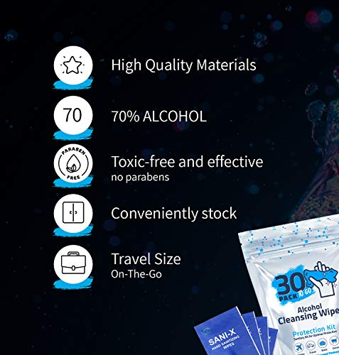 30 Pack - Hand Sanitizing Wipes, Individually-Wrapped, 70% Alcohol Disinfecting Wipes, Moisturizing Antibacterial… |