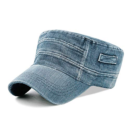 capswhh Simple Casual Cap Washed Denim Military Cap Outdoor Hipster Hat Male and Female Simple Casual-Horizontal Side Section - Light Blue_Can Be Adjusted Properly (56-59Cm)