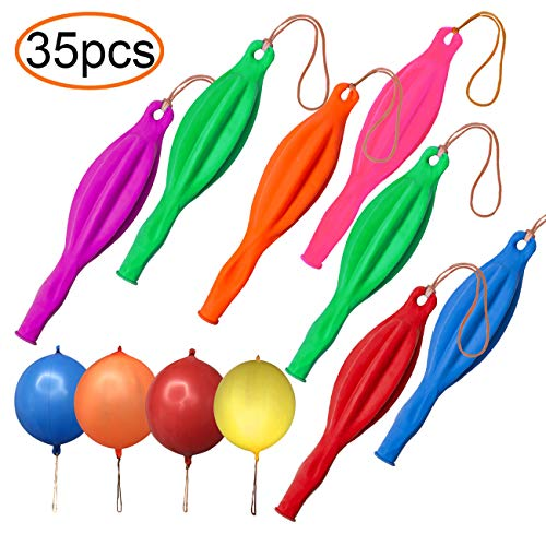 35 Pack Punching Balloons, Neon Punch Balls with Rubber Band Handle for Party, Wedding, Assorted Color]()