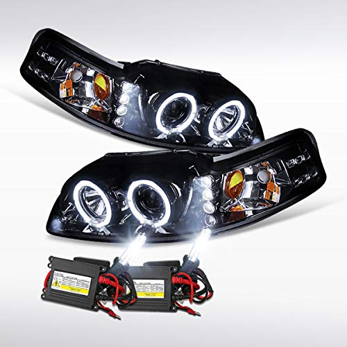 Autozensation For Mustang Glossy Black LED Halo Projector Headlights+6000K HID Bulbs Kit