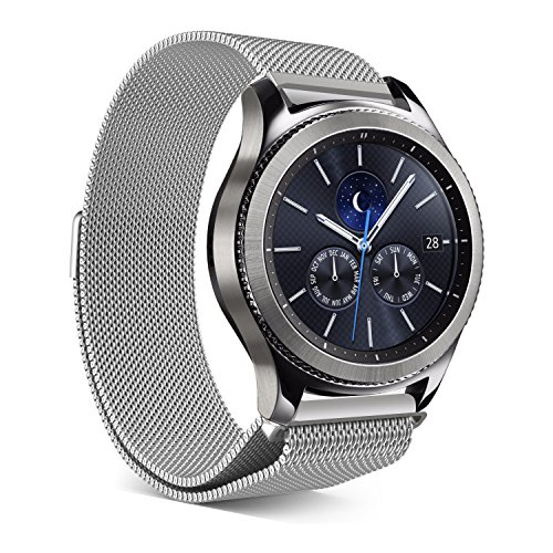 EloBeth for Samsung Gear S3 Milanese Magnetic Loop Stainless Steel Mesh Strap for Gear S3 Classic Bands / Gear S3 Frontier Bands / Pebble Watch Band with Unique Magnet Lock - Bans Silver