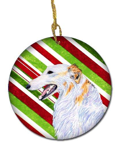 Caroline's Treasures SS4544-CO1 Borzoi Candy Cane Holiday Christmas Ceramic Ornament, Multicolor