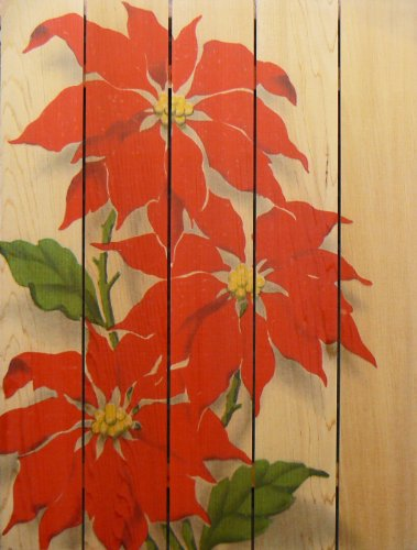 Gizaun Art RP2836 Red Poinsettia Cedar Christmas Wall Art, 28 by 36-Inch