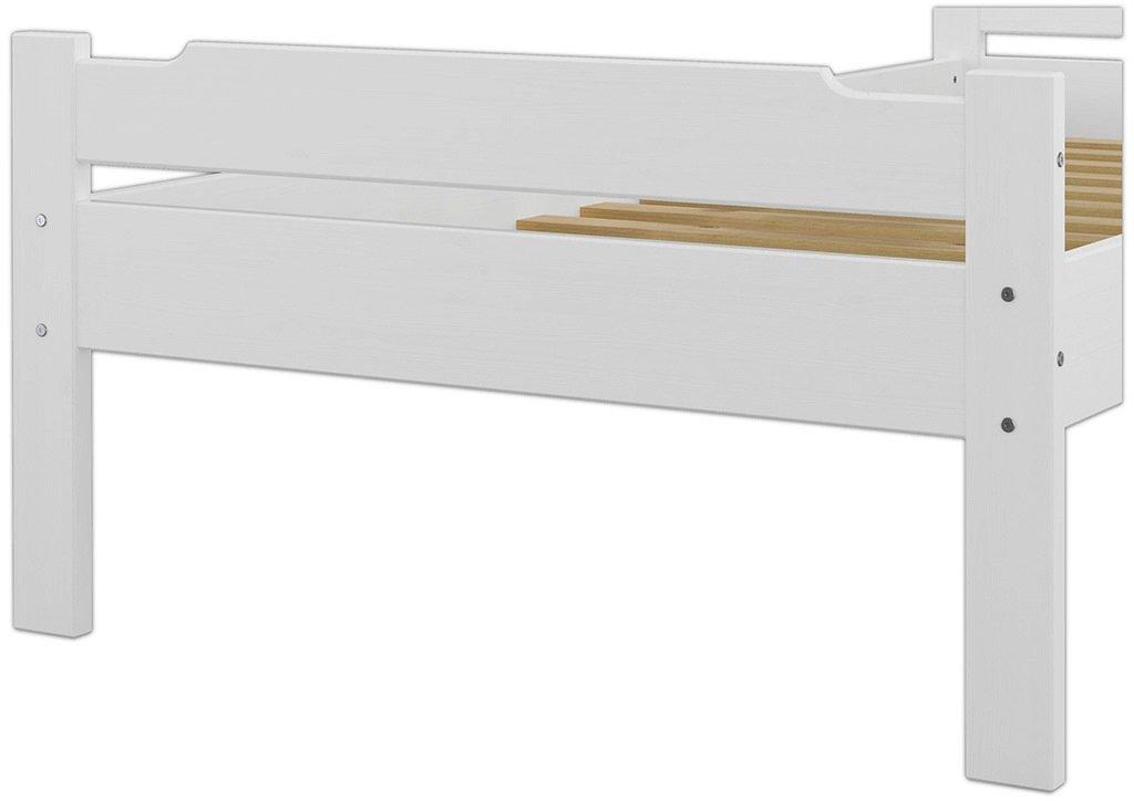 90x200 Erst-Holz 60.31-09 W Einzelbett mit Rollrost Massivholz Wei/ß