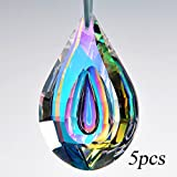 H&D 5PCS 76MM Colorful Crystal Chandelier Lamp Hanging Ornament Parts Crystal Loquat DIY Suncatcher Rainbow Maker Crystal Prism Pendant