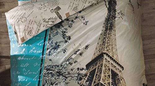 100% Turkish Cotton Ranforce Paris in Love Eiffel Tower Theme Themed Full Double Queen Size Quilt Duvet Cover Set Bedding - 6 Pcs