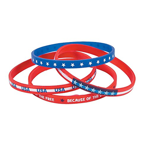 Fun Express - Patriotic Thin Silicone Bands for Fourth of July - Jewelry - Bracelets - Rubber Bracelets - Fourth of July - 24 Pieces