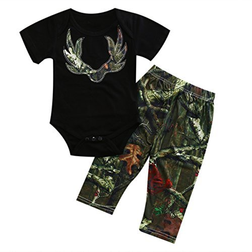 ITFABS 2pcs Baby Boy Girl Pants Sets Black Short Sleeve Romper + Camouflage Pants Outfits Clothes (70(0-6months), Green)