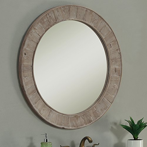 InFurniture WK1812 Round Solid Recycled Fir Mirror, -