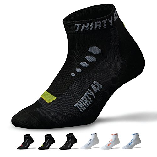 Thirty48 Low Cut Cycling Socks for Men and Women   Black/Green - - Ladies Apparel Cycling