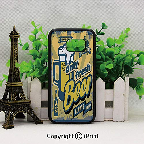 Delicious Fresh Premium Beer Old Fashion Graphic Design Bottle Keg Mug Foam Decorative 2D Printing of Samsung S7 Case Black Soft TPU and PC Protection Anti-Slippery Case for Samsung S7 Multicolor (Eclipse Bottle Glove)