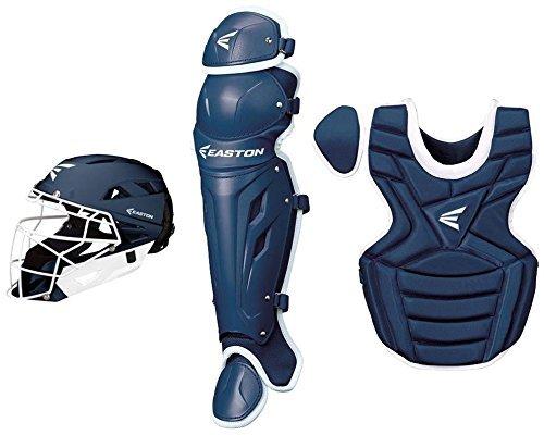 Fastpitch Softball Catchers Leg Guards (Easton M7 Fast Pitch Intermediate Catchers Box Set, Navy/White)