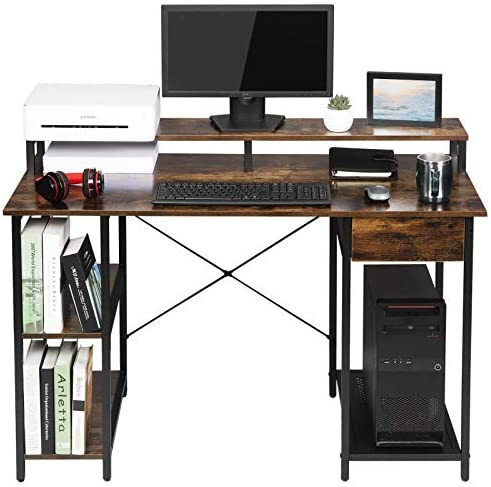 OUTFINE Desk Computer Desk Office Desk with Drawer, Monitor Stand and Storage Shelves