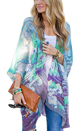 Fanala Women Printed Half Sleeve Chiffon Kimono Cardigan Coat Tops Blouse Loose Jacket?