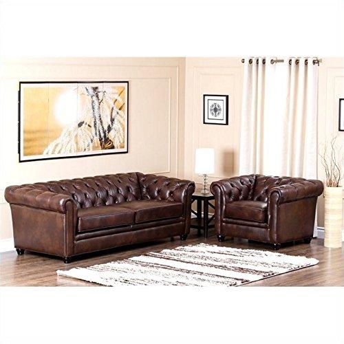 Abbyson Living Foyer Sofa and Armchair Set in Chesnut Brown