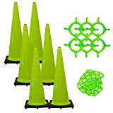 Mr. Chain - 36'' Traffic Cone and Chain Kit - Safety Green - 36'' Height - 14'' X 14'' base