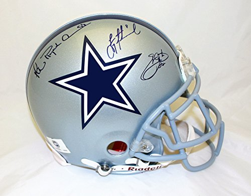 Dallas Cowboys Triplets Autographed Authentic helmet, hand signed by Troy Aikman, Michael Irvin and Emmitt (Emmitt Smith Hand Signed)