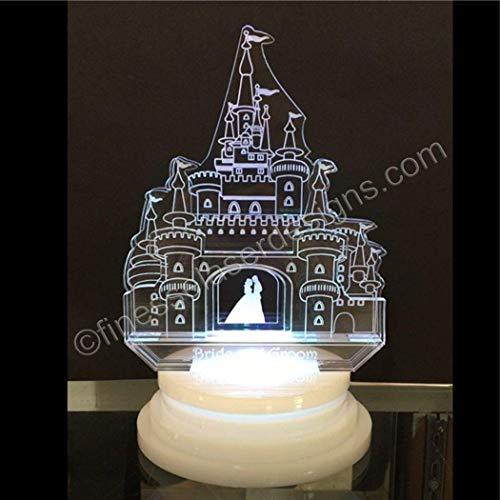 100 Favors + Fairy Tale Castle Acrylic Cake Top LED Wedding Birthday - Top Castle Cake Wedding
