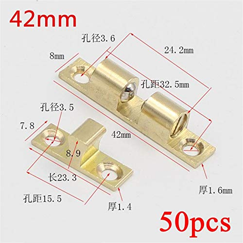 50pcs 42mm Wholesale Pure Copper Cabinet Door Catches Touch Beads Bronze Brass Color Double Ball Latch Clip Lock by Kasuki (Image #1)
